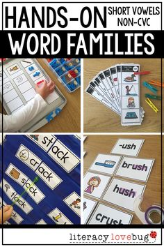Short vowel word families activities for kindergarten and first grade students. These printables are hands-on and can be used during literacy centers, intervention or remediation or with your guided reading groups.