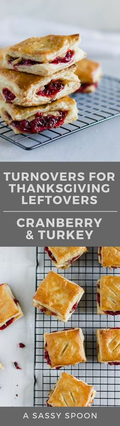Leftover Cranberry + Turkey Turnovers. Repurpose Thanksgiving leftovers by making savory sweet pastelitos (or hand pies) using puff pastry sheets! via @asassyspoon
