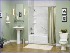 fresh bright bathroom paint color ideas sunroom green colour with white grey black mosaic tiles floor
