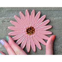 Ceramic Marguerite Wall Decoration Pink Flower Pottery Ornament Brown... ($18) ❤ liked on Polyvore featuring home, home decor, brown home decor, ceramic home decor, pink home decor and polka dot home decor