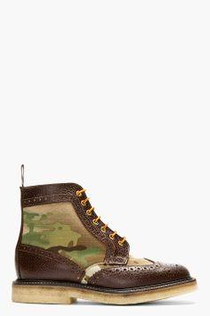 MARK MCNAIRY Khaki Camo Shortwing Boots