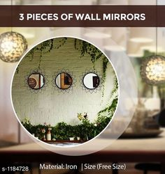 Candles & candle holders Wall Mirrors Material: Iron Size: Free Size Description: It Has 3 Pieces Of Wall Mirrors Country of Origin: India Sizes Available: Free Size   Catalog Rating: ★4.4 (1057)  Catalog Name: Home Decor Products Vol 7 CatalogID_148057 C127-SC1612 Code: 367-1184728-6771