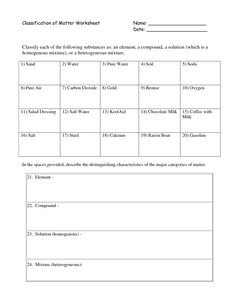 Worksheet Classification Of Matter Worksheet cards on pinterest classification of matter worksheet docstoc google search