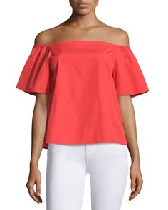 Christy Off-the-Shoulder Poplin Top, Bright Red