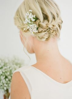 Romantic braids with flowers for bridal party. #TheLANEWeddings and #DelphineManivet