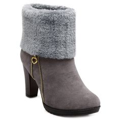 Zip Furry Chunky Heel Boots ($44) ❤ liked on Polyvore featuring shoes, boots, thick heel shoes, wide heel shoes, zip boots, zipper shoes and zipper boots