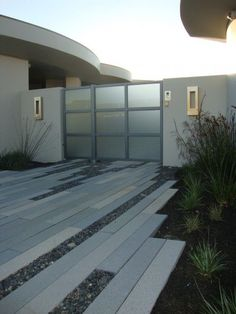 modern pathway...using reclaimed treated wood and pebbles