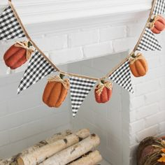 Give your fall wall space a festive, rustic accent with our Gingham Flag and Pumpkin Pennant Banner. A charming design makes this a great harvest addition. Thanksgiving Banner, Fall Banner, Fall Garland, Diy Banner, Pennant Banners, Thanksgiving Decorations, Garland Ideas, Holiday Banner, Banner Ideas