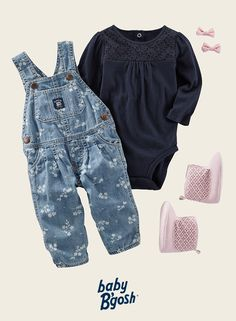 Featuring little flowers and cinched cuffs, this OshKosh denim looks just right with eyelet lace. Top it off with bows and booties!