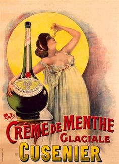 Creme de Menthe by PAL France. Vintage Poster Reproduction. French wine and spirits poster features a women with her arm around a giant bottle leaned back in front of a yellow circle. Giclee Advertising Print. Classic Posters