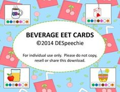 Free! beverage vocabulary cards with a built in Expanding Expression Tool (EET)!  You get 16 flashcards with pictures and the EET at the bottom of the card.  I have also included 4 blank cards so that you can add your own beverages