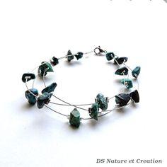 Bracelet pierre turquoise, bijou chrysocolle, bijou pierre nature, bracelet nature, bijou turquoise, bracelet chrysocolle naturelle, trysna by DSNatureetCreation on Etsy https://www.etsy.com/listing/253381670/turquoise-stone-bracelet-chrysocolla