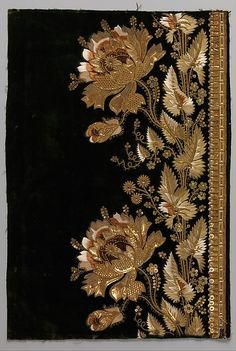 Embroidery sample for a man's suit This artwork is part of Elaborate Embroidery: Fabrics for Menswear before 1815 http://www.metmuseum.org