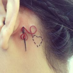 Heart thread and needle tattoo for my love of sewing and fashion.