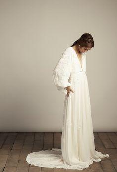 Vania Romoff Wedding Dress Boho Bell Sleeves