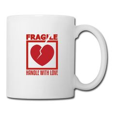Fragile, Handle With Love, Funny T Shirt Design Mug ✓ Unlimited options to combine colours, sizes & styles ✓ Discover Mugs by international designers now! Valentines Mugs, Funny Coffee Mugs, Mug Designs, Funny Tshirts, Handle, Love, Day, Check, Amor