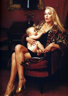 Jerry Hall by Annie Leibovitz. This was one of my favorite shots of Jerry Hall...fierce, protective, sexy...