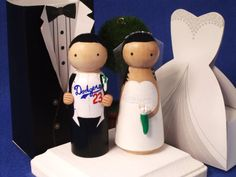 Dodgers  Sports Theme Wedding Cake Topper  by IttyBittyWoodShoppe, $60.00