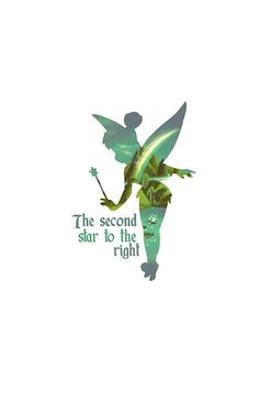 """Tinkerbell Silhouette"" Matted Print: Elegant and joyful Peter Pan print for the refined Disney fan."