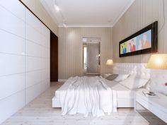 Projekt wnętrza sypialni beżowo-białej z ciemnymi akcentami kolorystycznymi – Tissu. Sypialnia utrzymana w jasnej tonacji, białe połyskujące fronty szafy optycznie powiększają wnętrze. Kolorowe dodatki ożywiają stonowane wnętrze.  http://www.tissu.com.pl/zdjecia/276