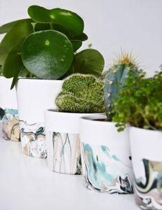 DIY Tutorial | Anleitung - Blumentöpfe Marmorieren mit Nagellack - Geschenke selbermachen | luzia pimpinella