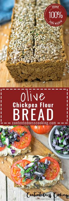 My Olive Chickpea Flour Bread recipe brings you a fresh homemade vegan and gluten free bread with extra flavor. Using my Olive Hummus in combination with chickpea flour results in a hearty taste that will blow you away. And you make this homemade bread se Gluten Free Baking, Vegan Gluten Free, Gluten Free Recipes, Bread Recipes, Vegetarian Recipes, Cooking Recipes, Cooking Bread, Jello Recipes, Cooking Food