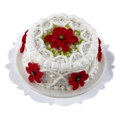 Miniature Poinsettia and Piping Cake