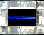 Stained Glass Panel, Beveled Glass Sun Catcher, Textured Art Glass, Black Thin Blue Line, Handmade Window Decor