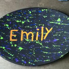 Unused satellite dish painted for my daughter's room.