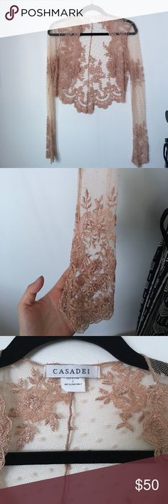 Vintage Delicate Lace Cardigan Beautiful and gently worn. Says size 8, but I'm like a small and I feel like it's a true small. No flaws. Casadei Tops Blouses