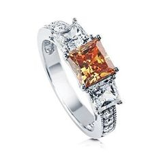 Sterling Silver Princess Cut Champagne Cubic Zirconia CZ 3 Stone Womens Engagement Ring available at joyfulcrown.com