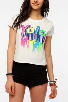 Corner Shop Yolo Glow-In-The-Dark Crop Tee  #UrbanOutfitters