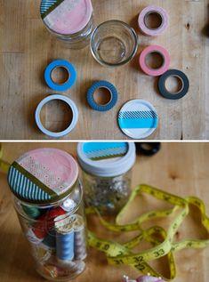 Reusing jars with Washi Tape