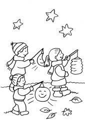 Kindergarten: Kinder beim  Laternenumzug zum Ausmalen