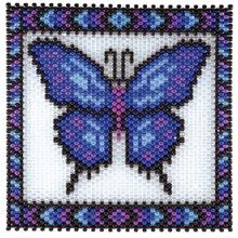 Herrschners® Blue Butterfly Beaded Banner Kit Pony Bead Patterns, Peyote Stitch Patterns, Beading Patterns, Jewelry Patterns, Beaded Banners, Butterfly Cross Stitch, Stitch Pictures, Beaded Crafts, Peyote Beading