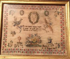 A Beautiful 19th Century FRENCH Sampler Dated 1828