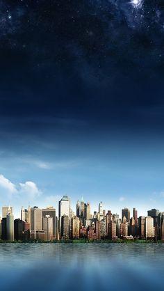 Skyline Island City iPhone 5 Wallpaper
