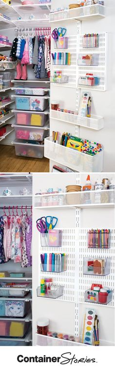 We used our elfa Utility Door & Wall Racks to organize play date supplies. The removable bins make it easy to take supplies to a table.