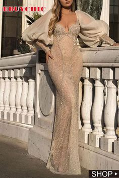 This mesh dress features squre collar and mutton sleeve. The hollow out dress is for party, cocktail and other formal occasion. Formal Dresses For Women, Modest Dresses, Elegant Dresses, Pretty Dresses, Bridal Dresses, Casual Dresses, Fashion Dresses, Ivory Evening Gowns, Sequin Evening Dresses