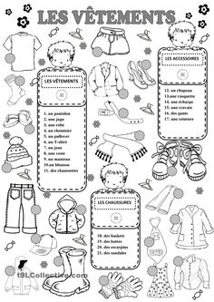 CLOTHES worksheet - Free ESL printable worksheets made by teachers French Teaching Resources, Teaching French, French Worksheets, French Education, French Outfit, French Grammar, Core French, French Classroom, French School