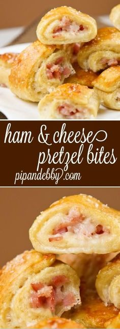 Ham and Cheese Pretzel Bites - this is the ultimate appetizer! They will fly off your serving platter. Great for parties or a snack! Flavorful Food Concepts and Ideas, Food Recipes, Appetizer Recipes, JK Commerce Finger Food Appetizers, Appetizers For Party, Finger Foods, Appetizer Recipes, Snack Recipes, Cooking Recipes, Crowd Appetizers, Popular Appetizers, Delicious Appetizers