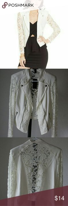 Material Girl Lace-Trim Moto Jacket, Pretty lace and delicate flowers mix in this moto-style jacket. Pair with a dress or blouse to make a BOLD statement!! Material Girl Jackets & Coats Blazers