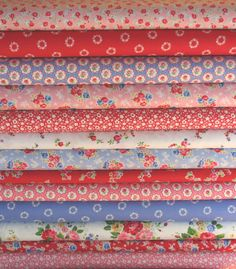 Pam Kitty Morning fabric in red blue pink and white...from my fabric shop, Sew Deerly Loved.  :)
