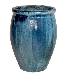 "Our best-selling planter, featured in Southern Living Magazine. This gorgeous and substantial indoor/outdoor planter is made of high-quality ceramic with a rich, blue artisan glaze. Showcase one or a pair on your patio, pool area or garden, planted with bright annuals or small trees.  Medium Measures 19"" W x 27"" H (Interior 15.5"" Diam, Base 10.75"" Diam) Also available in Small 14"" W x 19""H (Interior 11"" Diam, Base 7.75"" Diam) Also available in Large 25"" W x 30"" H (Interior 21.5"" Diam, Base…"