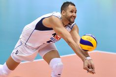 Osmany Juantorena of Italy receives in the match between Canada and Italy during the FIVB Men's Volleyball World Cup Japan 2015 at the Hiroshima Prefectural Sports Center on September 2015 in Hiroshima, Japan. Volleyball Poses, Volleyball Players, Volleyball Wallpaper, Mens World Cup, Collection Company, Rio Olympics 2016, Olympic Games, Canada, Italy