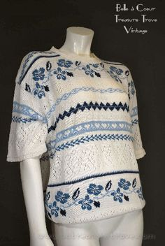1990s Cotton Knit Sweater Blue & White Nordic Short Sleeve