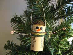 wine cork snowman Christmas tree ornament decoration