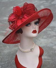New Womens Kentucky Derby Wedding Sinamay Ascot Church Wide Brim Dress Hat Fascinator Hats, Fascinators, Millinery Hats, Turban, Race Day Fashion, Fashion Hats, Funky Hats, Red Hat Ladies, Types Of Hats