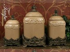 Gg Collection Acanthus Ceramic Kitchen Canister Sets With Metal Base Canisters And French Kitchens
