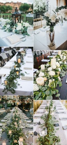 2017 trending greenery wedding centerpiece ideas centerpieces set the tone for an entire wedding event Greenery Centerpiece, Rustic Wedding Centerpieces, Wedding Decorations, Centerpiece Ideas, Flower Decorations, Simple Centerpieces, Wedding 2017, Our Wedding, Dream Wedding
